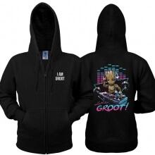 Cool I am Groot Sweatshirt Black Guardians Of The Galaxy 2 Zipper Hoodie for Men