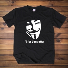Cool V for Vendetta Mask T-shirt Red Wine Men Tee