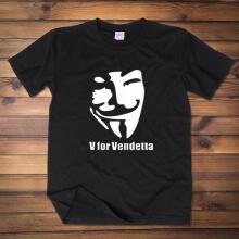 Cool V for Vendetta Mask T-shirt Red Wine Men Tee