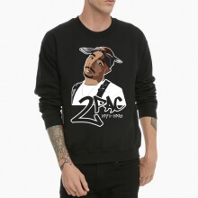 Hip Hop Tupac Sweatshirt Black Crew Neck Hoodie