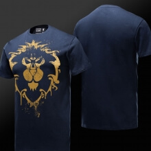 World of Warcraft Alliance T-shirt Blizzard WOW Lion Blue Tee