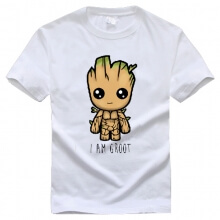 Lovely Guardians Of The Galaxy Characters Groot White T-shirt for Men Boy