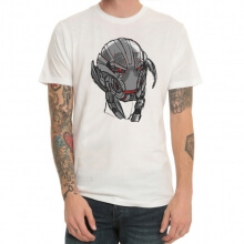 Marvel Avengers 2 Ultron Head Tshirt White Mens Tee