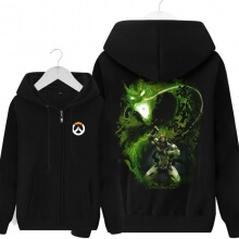 Overwatch Genji Sweatshirt Black Zipper Hoodie For Men