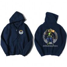 Overwatch Hero Soldier 76 Sweatshirt Men Blue Hoodies