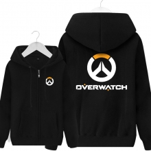 Overwatch Logo Sweatshirt Black Zipper Hoodie For Men