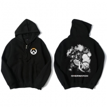 Overwatch Roadhog Hoody For Men Zipper Black Hoodie