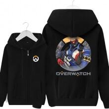 Overwatch Soldier 76 Sweater Men Black Zipper Hoodie