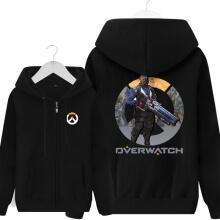 Overwatch Soldier76 Hoodie Men Black Soldier 76 Merchandise