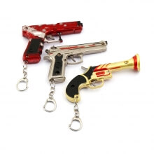 Playerunknown Pistol Model Pendant with Leather Case Key Chain