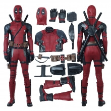 Quality PU Leather Deadpool 2 Cosplay Costume Wade Wilson Red Jumpsuit Costume