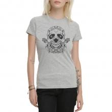 Skull Tattoo Grey T-Shirt for Women