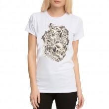 Skull Tattoo Rock White Women T-Shirts