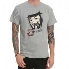 V Vendetta Humor Gray Print T-Shirt