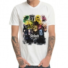 White Slipknot Band Metal Rock Print T-Shirt