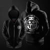 One Piece Hoodie Trafalgar Law Black Zip Up Hooded Sweatshirt For Youth
