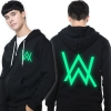 Alan Walker Faded Sweatshirt Cool 3XL Black Luminous Hoodie for Men
