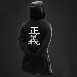 One Piece justice Long Hooded Sweatshirt Black Men Hoodie Cool