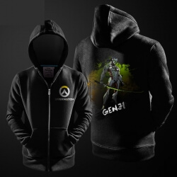 Ink Print Overwatch Genji Hoodie OW Hero Zipper Sweater For Mens