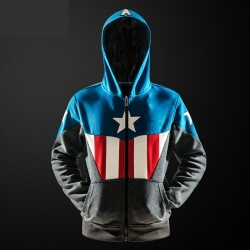 Captain America Hoodie Boys Zipper Winter Sweatshirts Fleece Thick Male