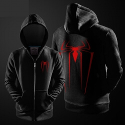 Marvel Superhero Spiderman Hoodie Black Zip Up Hooded Sweatshirt For Youth