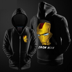 Superhero Iron Man Hoodie Black Zip Up Men Boy Marvel Hooded Sweatshirt