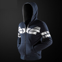 Marvel Captain America Cosplay Hoodie Superhero Blue Zipper Sweater For Youth