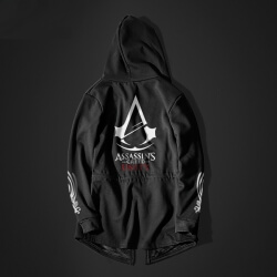 Assassins Creed Unity Long Hoodie Black Men Assassins Cosplay Coat