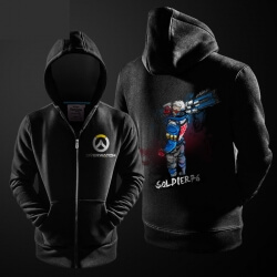 Ink Soldier 76 Zip Up Hoodie Overwatch Hero Blue Sweater for Men Boy
