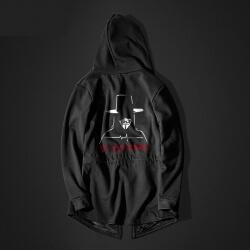 Cool V For Vendetta Long Hoodie Black Hooded  Sweater for Men
