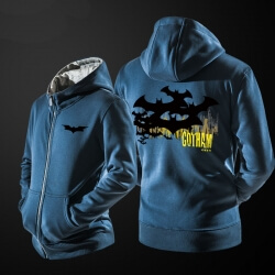 Cool Batman Sweatshirt Men Blue Zipper Hoodies