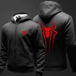 Winter Spider Man Sweater Zip Up Black Fleece Hoodie For Men Boy