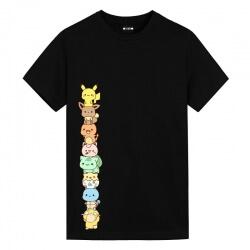Pokemon Pikachu Members T-Shirts Black Anime Shirt