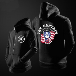 Superhero Captain America Sweatshirt Mens Blue Zip Up Hoody