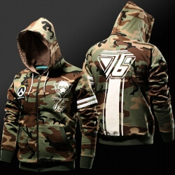 Overwatch Soldier 76 Hoodie Army Green OW Hero Sweatshirt