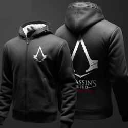 Assassin's Creed Hoodie Fleece Thick Zip Up Hooded Sweatshirt Men Boy Black Winter Coat