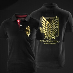 Attack on Titan Survey Legion Polo Shirts Black XXL Cotton Polo Tee