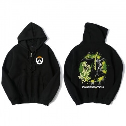 Blizzard Overwatch Genji Hoodie Men Black Hooded Sweatshirts