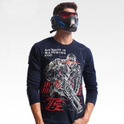 Blizzard Overwatch Soldier 76 Long Sleeve T-shirt Blue 4XL Tee Shirt