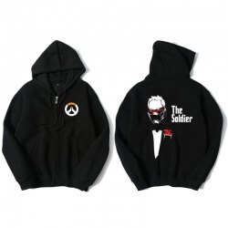Blizzard Overwatch Soldier 76 Sweatshirt Men Black Sweater
