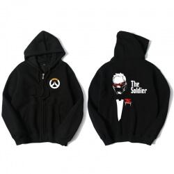 Blizzard Overwatch Soldier 76 Sweatshirt Men Black Sweater