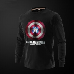 Captain America Printed Long Sleeve T Shirts