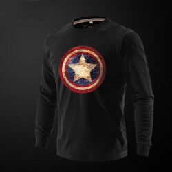 Captain America T Shirt Full Sleeves Black Tee