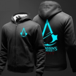 Cool Assassin's Creed Hoodie Mens Fleece Thick Zip Up Hooded Sweatshirt Black XXXL