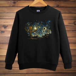 Cool Gotg Groot Sweatshirt Galaxy Movie Black Large size Men hoodie