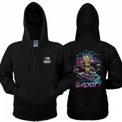 Cool I am Groot Sweatshirt Black Guardians Of The Galaxy 2 Zipper Hoodie for Men