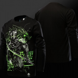 Cool Luminous Genji T-shirt Long Sleeve Black 4XL Tee