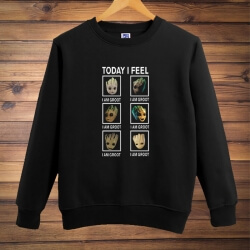 Cute I am Groot Crew Neck Sweatshirt Gotg Guardians Black Hoodie