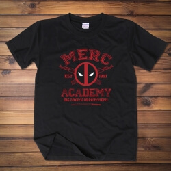 Deadpool Merc Academy Tee Shirt Black Cotton T