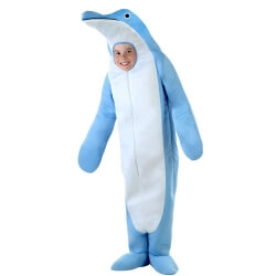 The Dolphin Themed Coverall Animal Cosplay Costume Kids Sea Cartoon Performance Costume Parent-child Clothing Sky Blue And White